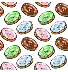 tasty donut seamless pattern hand drown vector image