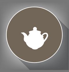 Tea maker sign white icon on brown circle vector
