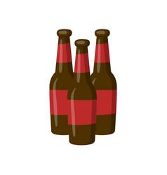 three bottles of beer cartoon vector image
