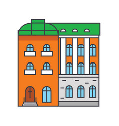 Townhouse line icon concept townhouse flat vector