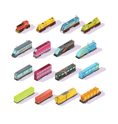Train carriage isometric set vector