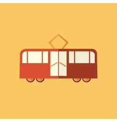 Tram transportation flat icon vector