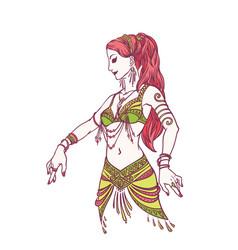 Tribal dancer or belly dancer girl in hand drawn vector