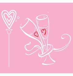 Two braided glass and flower heart vector image