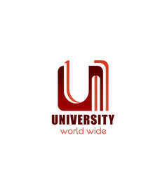 university or college letter u icon vector image