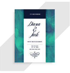 wedding invitation card template with watercolor vector image