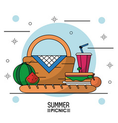 White background starry poster of summer picnic vector
