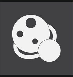 White icon on black background two planets vector
