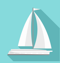 white yacht icon flat style vector image
