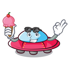 With ice cream ufo character cartoon style vector