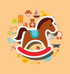 wooden rocking horse toys background vector image