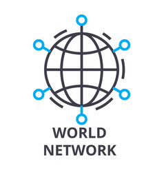 world network thin line icon sign symbol vector image