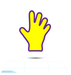 yellow glove or hand icon dish wash gloves vector image