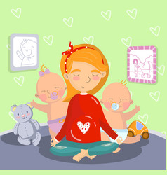 young pregnant woman relaxing in yoga lotus vector image