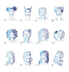 Zodiac sign beautiful fashion girl hand vector