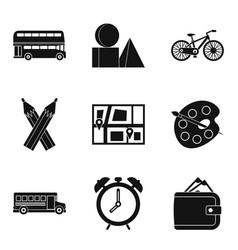 bus icons set simple style vector image vector image