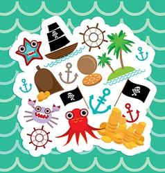 Card pirate Cute party invitation animals design vector image