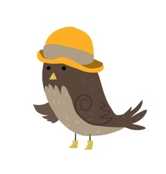 Cartoon sparrow with hat flat icon vector image vector image
