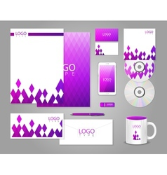 Corporate identity template with purple rhombuses vector image vector image