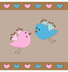 Cute birds love card Hearts vector image