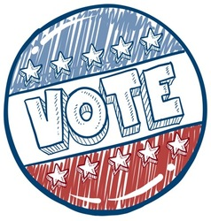 doodle vote button vector image vector image