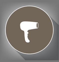 hair dryer sign white icon on brown vector image vector image