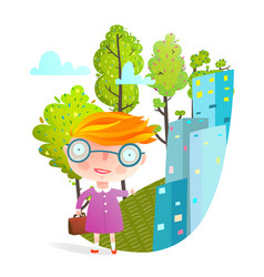 little girl in big city going to school vector image vector image