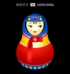 Matryoshka Korean girl vector image vector image