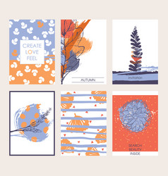 set of beautiful cards with autumn vector image vector image