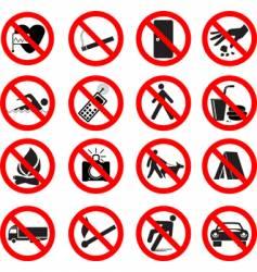 set of forbidden signs vector image vector image