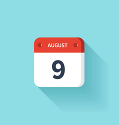 August 9 Isometric Calendar Icon With Shadow vector image vector image