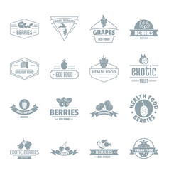 berries logo icons set simple style vector image