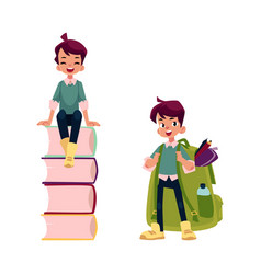 flat schoolboy character set isolated vector image