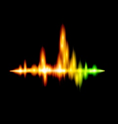 Fluorescent sound wave design vector image