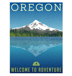 oregon mountains travel poster vector image vector image
