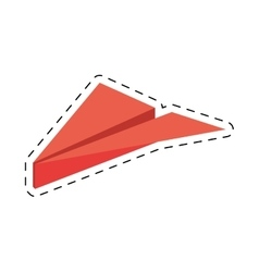 Pink paper plane origami funny cut line vector