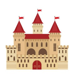a castle in flat style Medieval stone fortress vector image vector image