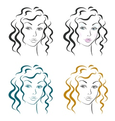 Beautiful woman face design set vector image