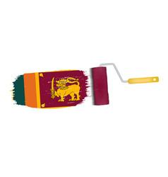 brush stroke with sri lanka national flag isolated vector image