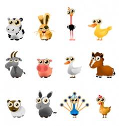 farm animal set vector image