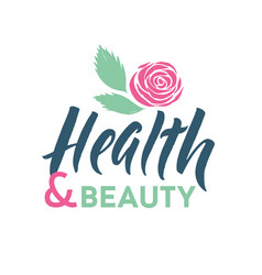 health and beauty studio logo stroke pink vector image