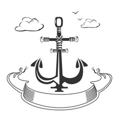 marine emblem with ribbon vector image