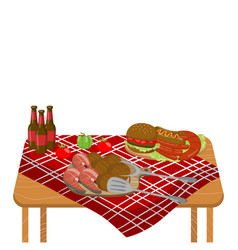 wooden table with typical picnic meal burgers vector image