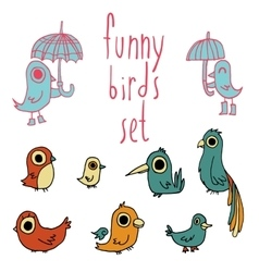 cartoon flat birds set icon stickers vector image