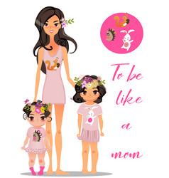 cartoon young mother with daughters vector image vector image