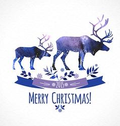 Deers christmas watercolor card vector image