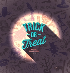 Halloween type design on a hand drawn background vector image vector image