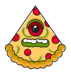 monster pizza vector image vector image