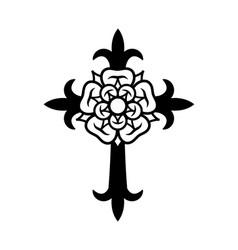 rosenkreuz cross with rose vector image