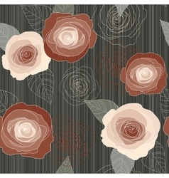Seamless roses pattern on dark green vector image vector image
